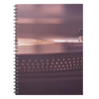 Turntable Music Record Vinyl Equipment Black Spiral Notebook
