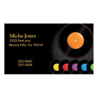 Turntable Records In Vivid Colors Double-Sided Standard Business Cards (Pack Of 100)