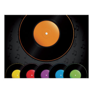 Turntable Records In Vivid Colors Poster