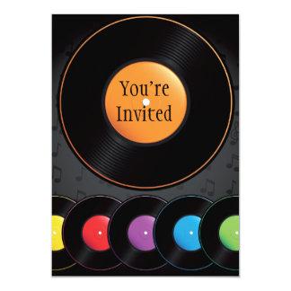 Turntable Records In Vivid Colours 13 Cm X 18 Cm Invitation Card