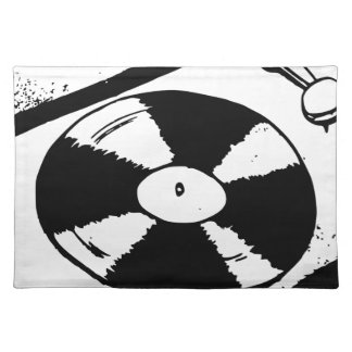 Turntable With Vinyl Record Placemat