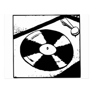 Turntable With Vinyl Record Postcard