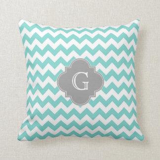 Turq / Aqua White Chevron Gray Quatrefoil Monogram Cushion