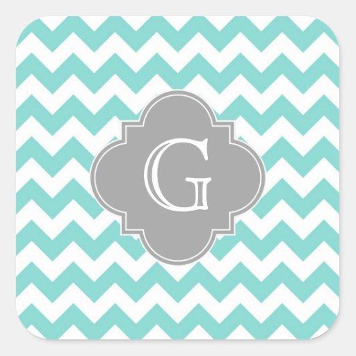 Turq / Aqua White Chevron Gray Quatrefoil Monogram Square Sticker