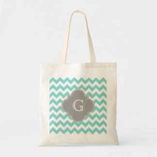 Turq / Aqua White Chevron Gray Quatrefoil Monogram Tote Bag