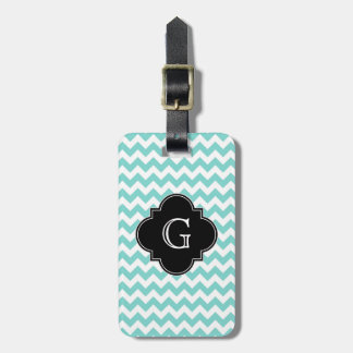 Turq / Aqua Wht Chevron Black Quatrefoil Monogram Luggage Tag