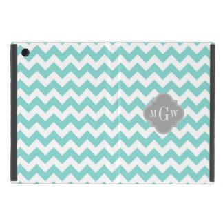 Turq / Aqua Wht Chevron Gray 3 Initial Monogram iPad Mini Covers
