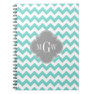 Turq / Aqua Wht Chevron Gray 3 Initial Monogram Notebook