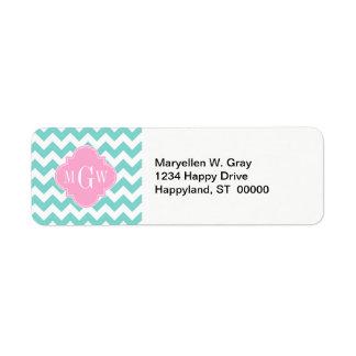 Turq / Aqua Wht Chevron Pink 3 Initial Monogram Return Address Label