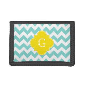 Turq / Aqua Wht Chevron Yellow Quatrefoil Monogram Tri-fold Wallet