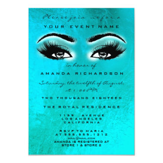 Turqoise Blue Ocean  Makeup Glitter Bridal Shower Card