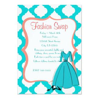 Turqoise & Coral Fashion Swap Card