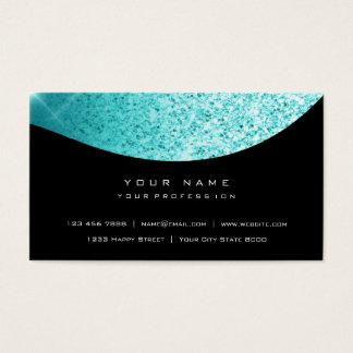 Turqoise Ocean Blue Glitter Glam Vip Silver Black Business Card