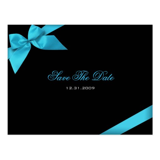 Turqoise Ribbon Wedding Invitation Save the Date Postcards