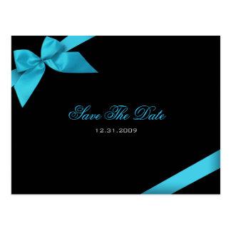 Turqoise Ribbon Wedding Save the Date 2 Postcard