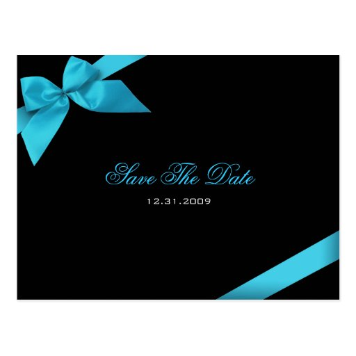 Turqoise Ribbon Wedding Save the Date 2 Post Cards