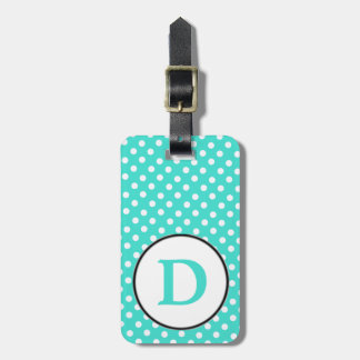 Turqoise white polka dots with D Luggage Tag