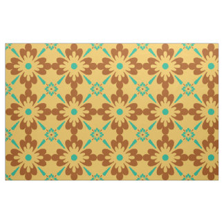 Turqouise Brown And Yellow Spanish Tile Pattern Fabric
