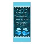 "Turqouise Love Birds Long Wedding Invitation 4"" X 9.25"" Invitation Card"