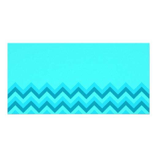 Turquiose Zig Zag Pattern. Part Plain. Photo Greeting Card