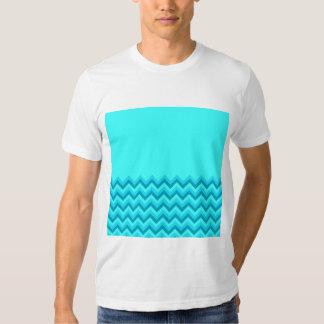 Turquiose Zig Zag Pattern. Part Plain. T Shirts
