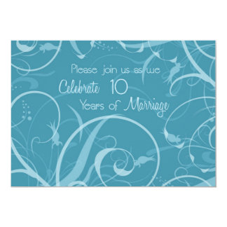 Turquoise 10th Wedding Anniversary Invitation