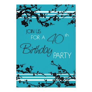 Turquoise 40th Birthday Party Invitation Card