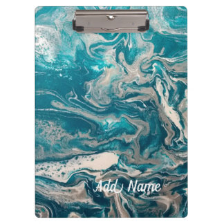 Turquoise Abstract Clip Board