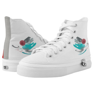 Turquoise Abstract High Tops