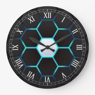 Turquoise Abstract Large Clock