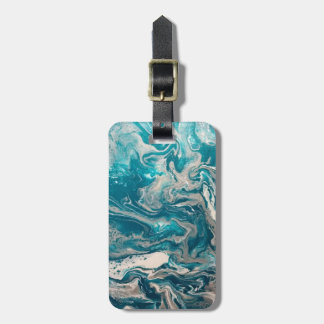 Turquoise Abstract Luggage Tag Personalised