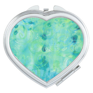 Turquoise Abstract Monoprint Compact Mirror