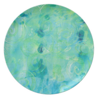 Turquoise  Abstract Monoprint Plate