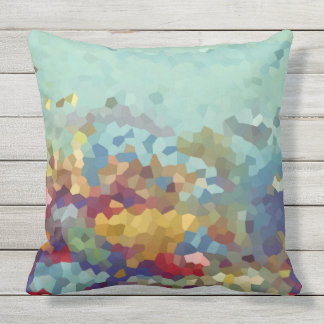 Turquoise Abstract Outdoor Cushion