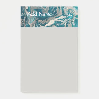 Turquoise Abstract Personalized Post it Notes 4x6
