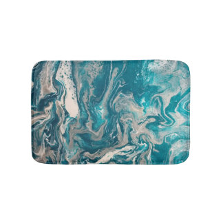 Turquoise Abstract Small Bath Mat