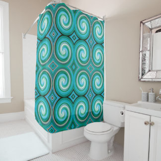 Turquoise Abstract Swirl Pattern Shower Curtain