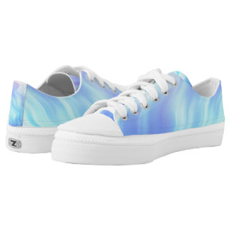 Turquoise Abstract Waves Printed Shoes