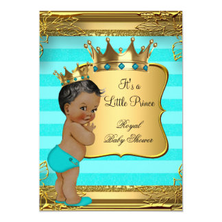 Turquoise African American Prince Baby Shower 13 Cm X 18 Cm Invitation Card
