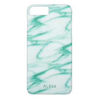 Turquoise Alabaster Marble Pattern with Name iPhone 7 Plus Case