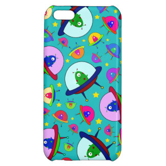Turquoise alien spaceship pattern iPhone 5C cover