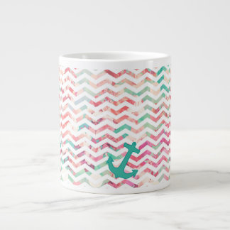 Turquoise Anchor Chevron Pink Chic Floral Pattern Large Coffee Mug