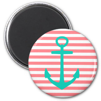 Turquoise Anchor on Coral Pink and White Stripes Magnet