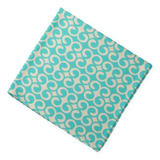 Turquoise and Beige Elegant Pattern Bandana