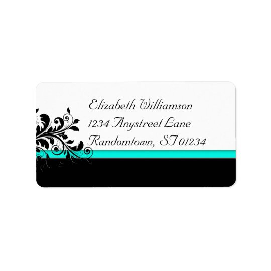 Turquoise and Black  Address Label