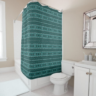 Turquoise And Black Aztec Pattern Shower Curtain