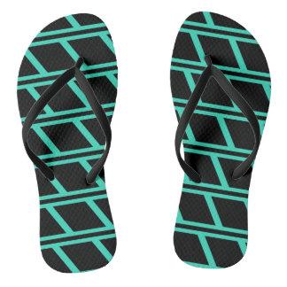 Turquoise and Black Brick Pattern Flip Flops
