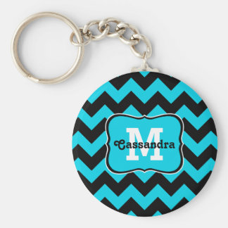 Turquoise and black chevron pattern monogram basic round button key ring