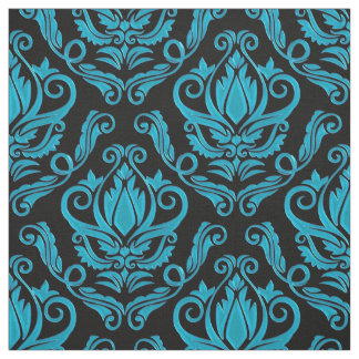 Turquoise and Black Damask Print Fabric