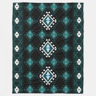 Turquoise and black ethnic style print fleece blanket